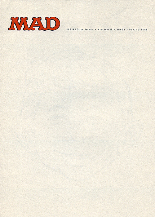 letterheady: Letterhead from the offices of Mad during the reign of Al Feldstein. Notice the faint watermark of Alfred E. Neuman's face. Previously: Mad letterhead from 1955. Mad Magazine, c.1980 | Submitted by Christopher Lading
