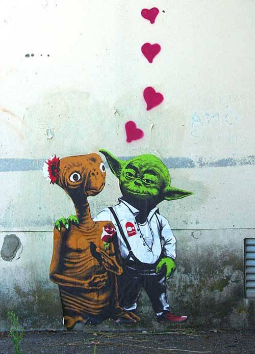 "thedailywhat:  Street Art of the Day: ""All You Need Is Love"" by Zed1. Spotted, presumably, in Italy. [wooster.]"