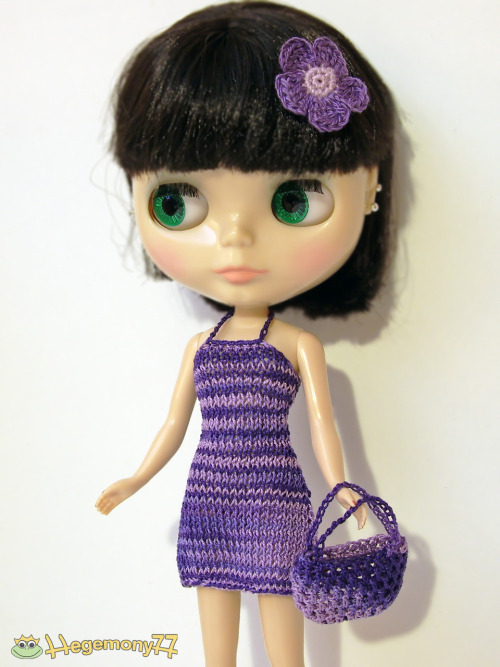 Purple shades dress, crochet bag and a crocheted flower barrette bow clip