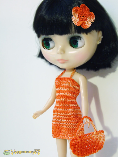 Orange shades knitted dress, crochet bag and a crocheted flower barrette bow clip