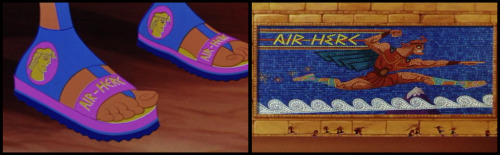 "The ""Air Herc"" sandals brand is a reference to the Nike Air footwear line. Moreover, the Hercules mosaic showing Hercules running resembles an actual Nike print ad. Nike was the Greek goddess who personified triumph."