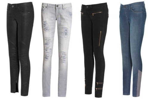 Victoria Beckham Denim's New Fall Jeans Hit Net-A-Porter Designer-denim fiends should head over to Net-A-Porter, where the first shipment of Victoria Beckham Denim hit the e-retailer's virtual shelves yesterday.For fall, the world's most famous soccer mom is continuing the themes from her Spring 2010 collection of clean lines, sexy panels, and zipper detailing. The first two super-skinny styles available on the site include a $315 mid-rise light blue pair with angular gray cord panels on the lower leg, and a $450 low-rise black pair with gold zippers cutting across the hips, thighs, and ankles.  Full story on StyleList here. [Victoria Beckham Denim's new Fall 2010 jeans. Photos courtesy of Net-a-Porter]