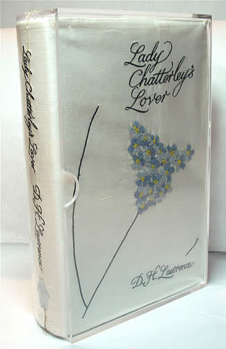 Lady Chatterley's Lover  Lawrence, D.H.  Designed by Sir Paul Smith. London, Penguin, 2006.  Octavo 16 x 24 cm. 363pp. Limited edition one of 1000 numbered copies. Full purple cloth in an embroidered silk dust jacket. Ribbon marker sewn in. Housed in the original plexiglas slipcase. Designed by esteemed British fashion designer Sir Paul Smith this was one of six titles published as limited editions to commemorate the 60th anniversary of Penguin Classics in 2006.   Via Powell's Rare Books