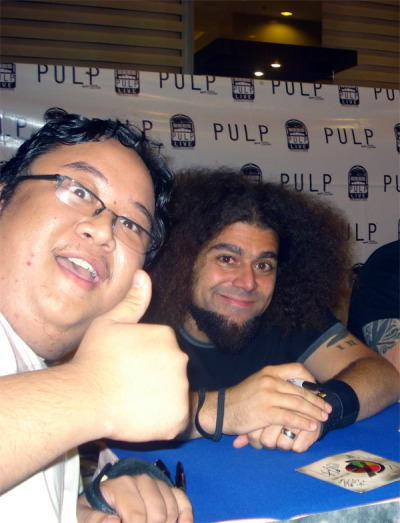 riffscreamer:  July 30, 2010. A.Venue, Makati City, Philippines Coheed and Cambria meet and greet. I got to meet my ULTIMATE hero, Claudio Sanchez. Backstage pass. Awesome, although bitin, 12 song set. I wasn't able to have my guitar signed BUT I did get to have my two album covers signed by the band(GAIBSIV: Vol. 1 and YOTBR). I felt bummed since Mic Todd, bassist, wasn't able to play. Wes Styles, keyboards, filled in for him though. After years and years of waiting, and hoping, I finally got to watch my favorite, favorite band in person. People who know me know that Coheed is THE ultimate band for me and Claudio is my ultimate hero so today was a very life changing experience for me. I will never ever forget this day.Oh here's the setlist for Coheed's gig in Manila if anyone's interested:  The Broken Here We Are Juggernaut No World For Tomorrow World Of Lines Made Out Of Nothing (All That I Am) Three Evils (Embodied In Love And Shadow) Guns Of Summer A Favor House Atlantic In Keeping Secrets Of Silent Earth: 3 Encore Everything Evil 21:13 Welcome Home  Lucky guy! Everyone's envious! Congratulations, man! And look at that sexy motherfucker that is Claudio Sanchez. LOOK.