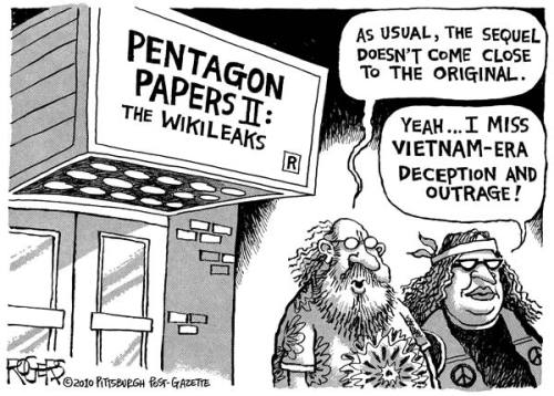 "Pentagon Papers II: The WikiLeaks - Rob Rogers Truly, the lack of popular outrage is very telling about the sense of immediacy and connection Americans have to the War in Afghanistan. Unlike Vietnam, when the draft made engagement, interest, and awareness all the more necessary especially with the prospect of sons being roped into war, we Americans in our era have the luxury of keeping these wars ""over there"" in both is physical and psychic space. As a whole, our outrage is intellectual, and not quite the broadly-shared worry and pain of having one's own son being involuntarily be sent for slaughter. [via:azspot & danielextra"
