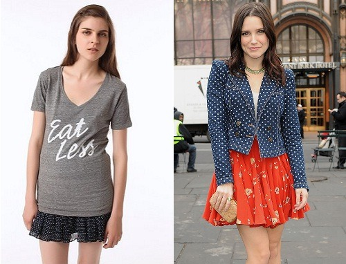 "Sophia Bush has declared war on Urban Outfitters after they marketted a t-shirt with the words 'Eat Less' on the front. The One Tree Hill actress, in an entry on her personal blog, called for them to issue an apology and make a donation to a charity for eating disorders, and said, ""It's like handing a suicidal person a loaded gun. You should know better.""Sophia wrote, ""To promote starvation? To promote anorexia, which leads to heart disease, bone density loss, and a slew of other health problems, not least of all psychological issues that NEVER go away? Shame on you. I will no longer be shopping at your stores. And I will encourage the tens of thousands of female supporters I have to do the same.""source.             (via lovelyarms)    Well guys, you know where not to shop now."