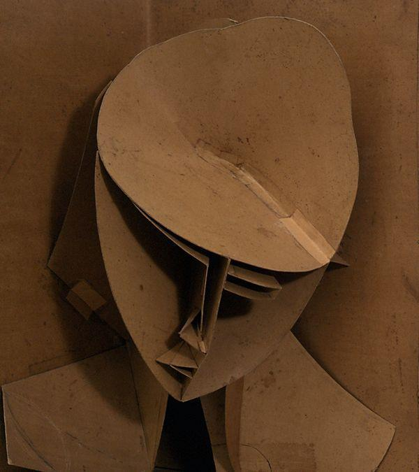 reblololo:  Naum Gabo detail of; Model for Constructed Head No 3 (Head in a Corner Niche) 1917 cardboard, reassembled 1996 61 x 48.5 x 34.5 cm