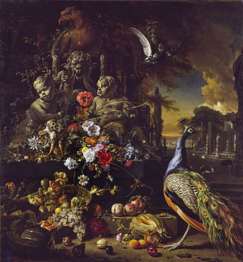 Jan Weenix Flowers on a Fountain with a Peacock 1700-10