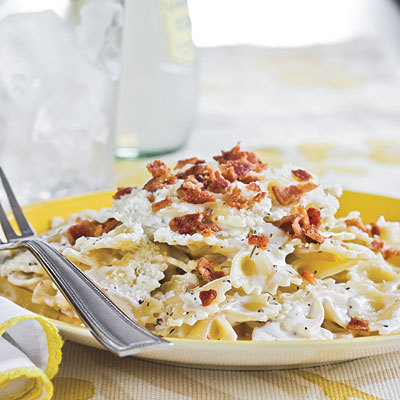 BACON BOW-TIE PASTA. Southern Living, I love you so.