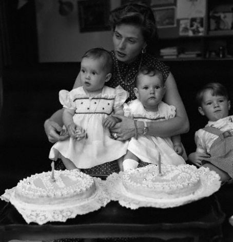 Ingrid Bergman with son Roberto, and twins Isabella and Isotta on their first birthday. June 18th, 1953