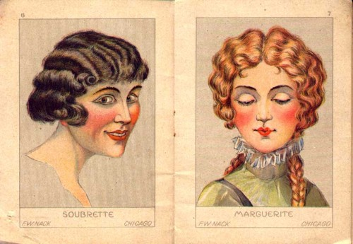 "earwigbiscuits:  ""Soubrette and Marguerite"" (pages 6 & 7), from Make Up Book for Professionals by F.W. Nack, a little how-to on stage makeup from about 1900. you can see the whole book here"