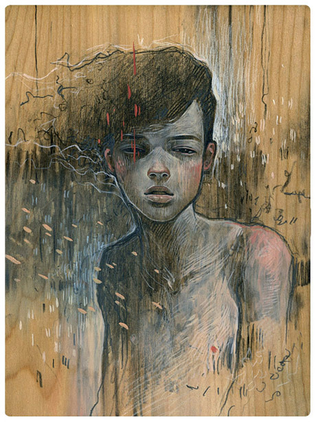 Boy in static by Audrey Kawasaki