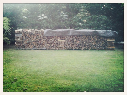 There is a very distinct pleasure that comes from stacking firewood.  Having a nice woodpile makes me feel like a rich man indeed.