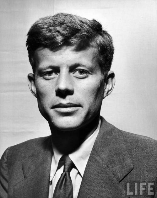 Above: A gaunt looking John F. Kennedy after becoming a Representative in his official portrait; July 1947.  Rose Kennedy: Diary Entry November 3rd, 1960. We went to the airport Thursday to see Jack go off to California on his private plane. The first time I had seen it. Jean was aboard with Steve [Smith, her husband]. Dave Powers*, who goes to give Jack a few laughs and to look after his clothes. It is the first time Dave has gone, as he has a very possessive wife who will not let him out of her sight even for lunch, or sometimes even for breakfast with Jack, not to mention a dinner date. Joe [Sr.] has always had someone like a court jester around him, someone witty, light hearted; but faithful, loyal, and with sense enough to keep his mouth closed under all circumstances. And I think that Jack hoped that Dave Powers would fill this particular need in his life. Pat is to join the party out in California as Jackie is not going until Friday, because she is taking care of Caroline. Jack looks unusually well. His cheeks have filled out amazingly since I saw him in June. He has lost that lean Lincolnesque look which I secretly like better. * Dave Powers was Jack's confidant, assistant, and jack-of-all trades since the Congressional election of 1946.