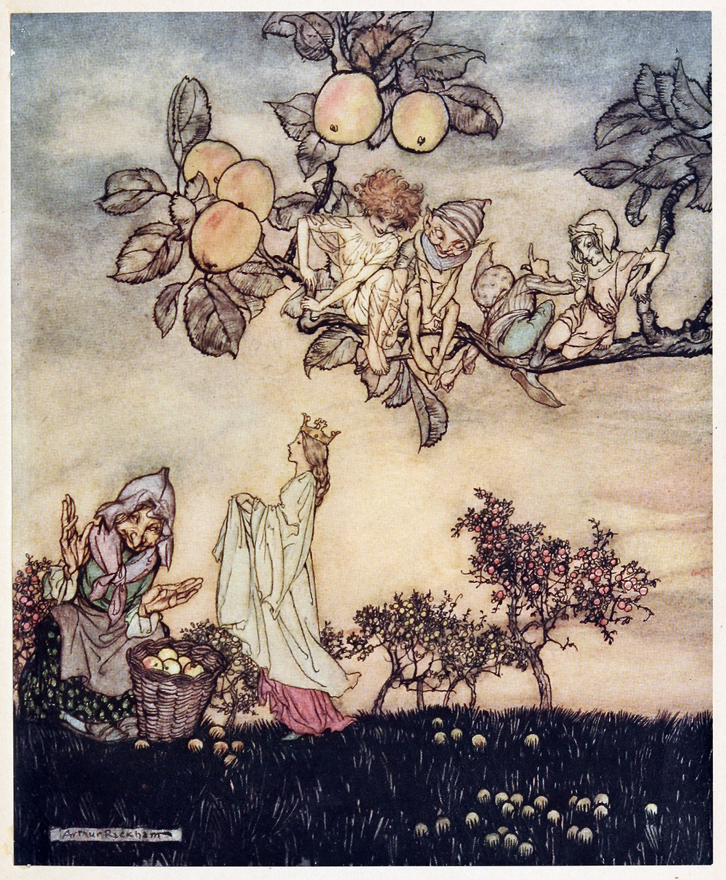 oldbookillustrations:  Lady's apple thou shalt be.Arthur Rackham, from A dish of apples, by Eden Phillpotts, London, 1921.Via archive.org.