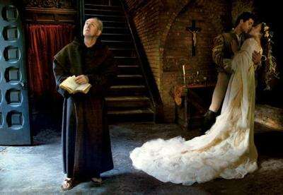 John Lithgow as Friar Laurence, Roberto Bolle as Romeo & Coco Rocha as Juliet in Vera Wang