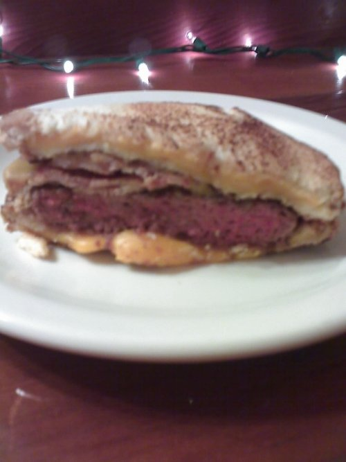 "Yes. That's a bacon cheeseburger with 2 grilled cheese sandwiches providing the ""buns"". The place I picked it up from has it listed as ""The Phatty"" - they should change the name to ""The Widow-Maker."" It's tastiness is matched only by a profound lack of mercy. Also, it shot through me like a stolen Ferrari. - Ray"