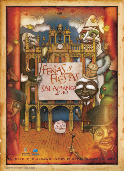 "Cartel para las fiestas de Salamanca. Los protagonistas son los llamados ""cabezudos"", figuras entrañables y algo siniestras que persiguen a los niños con palos por las calles de la ciudad. Hay algunas fotos de las cabezas auténticas (que sirvieron como modelo) en el Bardadrac. Algunas tienen muchísimos años. Poster for the local celebrations of the city of Salamanca. It displays the ""cabezudos"" (that means something like ""big headed""), tender and sinister characters who chases children armed with sticks. Bardadrac has some photos of the original heads (that served as a model). Some of them are very old."