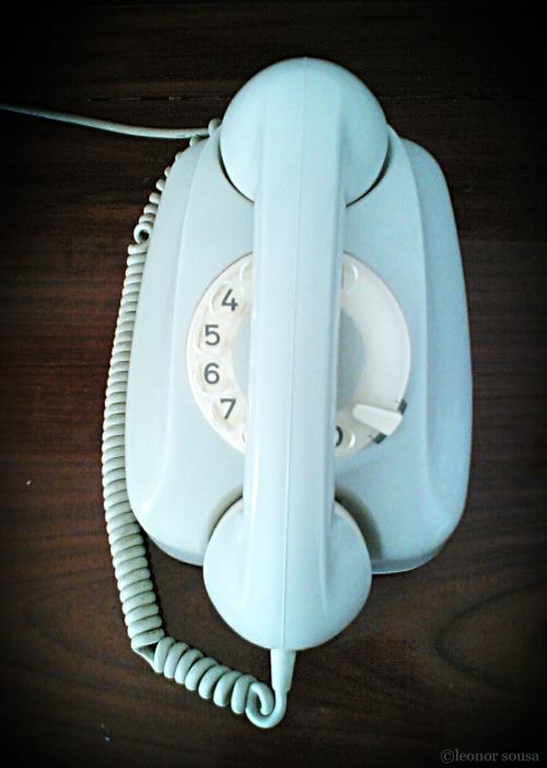light blue, rotary dial telephone // leonorsousa: Phone @ Hotel room in Lagos, Portugal (2005)