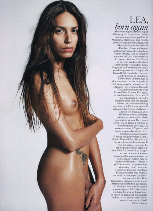 Lea T, the world's first transsexual supermodel, posing nude in this month's Vogue Paris.