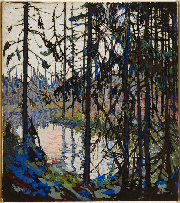 "artgalleryofontario:  Tom Thomson born Claremont, Ontario, 1877; died Canoe Lake (Algonquin Park), Ontario, 1917 Study for ""Northern River"", 1914 - 1915 gouache, brush and ink over graphite on illustration board 30.0 x 26.7 cm Purchase, 1982"