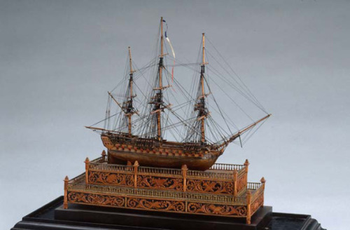 Model Warship: Two-decker, Third-rate (called Scipion) French, around 1794-1815 wood, copper alloy, paper, thread 15.2 x 6.0 x 19.0 cm The Thomson Collection © Art Gallery of Ontario