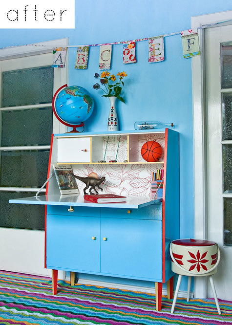 Via: Design SpongeBefore & After: Jo's Secretary DeskRed, blue, and dinosaurs? Yes, please.
