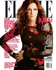 "Julia Roberts On Elle Magazine's September  Cover, Explains Her Anti-Botox Stance Julia  Roberts graces not one, but three covers this month — albeit, all  for Elle magazine.  In conjunction with the highly anticipated release of ""Eat, Pray, Love"" (in theaters August 13), which  follows Roberts's character on a soul-searching journey  across the world, the glossy dressed the 42-year-old mega star in the  aforementioned three themes for its September issue. Full story on StyleList here. [Julia Roberts in Dolce & Gabbana on the Love cover of Elle's  September issue. Photo: Alexei Hay]"