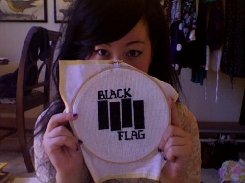 whoresatmydoor:  I'm making a series of punk band cross stitches. I don't know how to cross stitch, but who cares (how's that for punk DIY ethos). P.S. Hi new followers!!  No words can tell you how excited I am for these to be in my house.