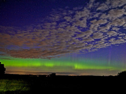 Green energy A spectacular display of the aurora borealis over Silkeborg, Denmark.  The flashes of light are caused by superheated gas in the atmosphere  arriving from the sun after a coronal mass ejection, otherwise known as a  solar storm