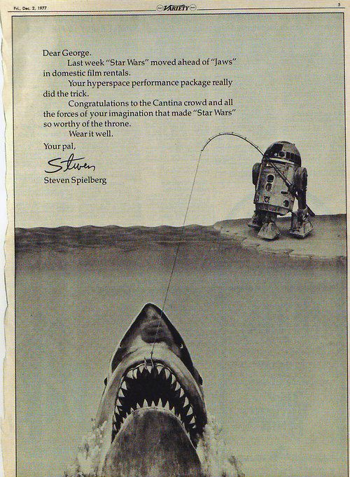 retrostarwars:  Letter from Steven Spielberg to Georgie Porgie to congratulate him for surpassing Jaws at the box office.