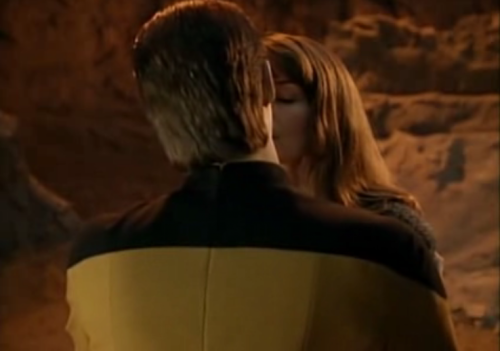 DAW! Data's so sweet for trying to make that girl feel better by kissing her.
