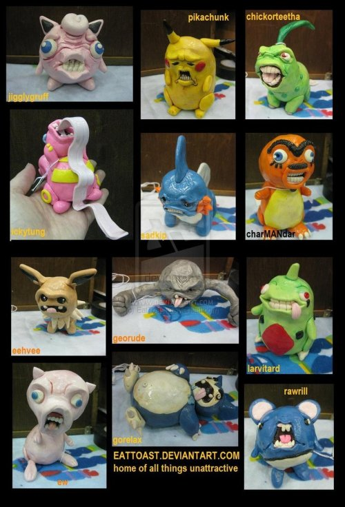 Scary Pokemon sculptures XD