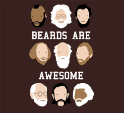 "thedailywhat:  Tee of the Day: ""Beards are Awesome"" by Andrew Gregory. Lemmy is God. (TFA: One day only!) [teefury.]"