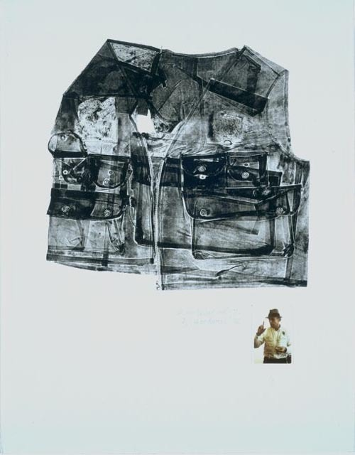 "kleidersachen:  Betty Goodwin, For Joseph Beuys, 1974,  soft-ground etching and etching with colour polaroid photograph on wove paper ""In 1972 she found a fisherman's vest like the one  Beuys always wore, and with it made the print ""Vest for Beuys"". In 1974  she took photographs of Beuys at an ""action"" in a New York gallery. She  then placed the photos on the remaining impressions of ""Vest for  Beuys"", and dedicated this version to him."""