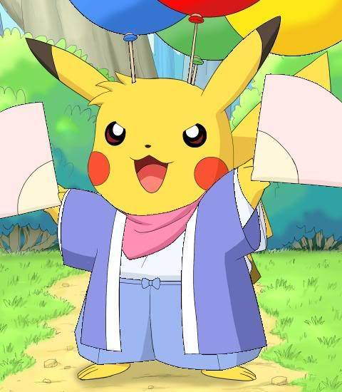 Cute little Pikachu even wears a kimono!
