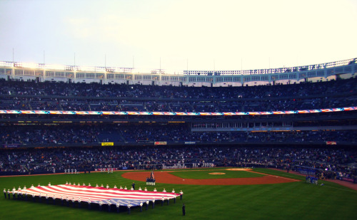 The very first game at the new Yankee Stadium. Yanks vs. Cubbies. Preseason game.