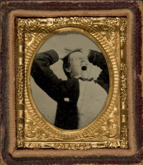 tuesday-johnson:Ambrotype of a yawning man, ca. 1854 via George Eastman House