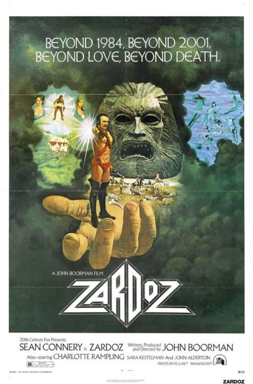"All I knew of Zardoz was the image of Sean Connery in his red diaper standing on the beach limply holding a pistol. This is the kind of movie netflix instant watch was made for. It opens with this man's head and his magic marker beard reciting what I think was a poem that asks the question ""Maybe God is in showbiz?"" - I'm not sure if ""Zardoz"" ever satisfactorily answers that query but now you've got a good idea of what you're in for and that's all that matters.  Then, the floating head called Zardoz (which we later learn was inspired by Magritte's Castle in the Pyrnees thanks to a well placed poster) comes in and tells all the men in red diapers that the 'gun is good, the penis is bad' before puking up a bunch of rifles. What happens for the next hour and a half I couldn't tell you. A lot of crazy shit happens. Something about the future and mortality and class stratification and hippies and everyone wearing crocheted shirts. I know what you're thinking. Why would Sean Connery make such a humiliating movie? My guess is because Charlotte Rampling signed up to run around topless the whole time. She is … wow. It reminds me of a mix of The Wicker Man, Godspell and a Margaret Atwood book. - Irene"
