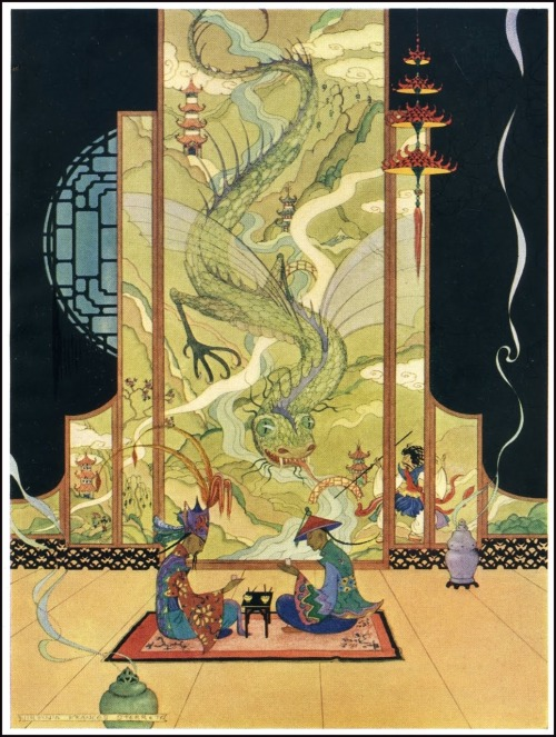 "breezingby:  crashinglybeautiful:  Virginia Frances Sterrett ""The Sultan and Aladdin Ate by Themselves.""Illustration from Arabian Nights, 1928  (from ajourneyroundmyskull & liquidnight: via Golden Age Comic Book Stories)   love"
