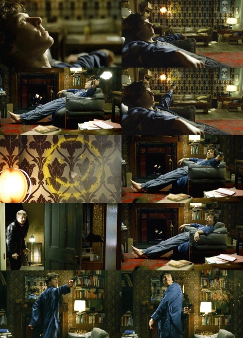 "fuckyeahtvpicspam:  SHERLOCK [shooting gun at the wall]JOHN: WHAT THE HELL ARE YOU DOING?!SHERLOCK: Bored.JOHN: What?SHERLOCK: BORED!JOHN: No… [plugs ears]SHERLOCK: [continues shooting the wall] BORED!  Sherlock 1.03 - ""The Great Game"" (via fyeahsherlock : lindseycathryn)"