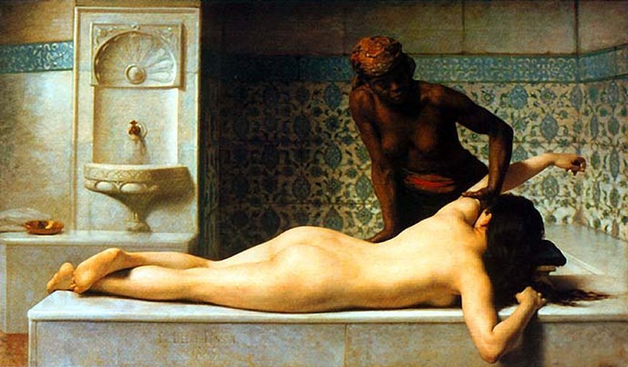 dfordoom:  Bernard Debat-Ponsan, Le massage scene de hamman, 1883  (The Massage in the Harem, 1883)