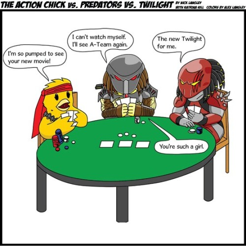 Action Chick vs Predators vs Twilight