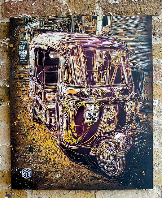 Print by French graffiti artist C215: 'New Delhi Rickshaw' (via RomanyWG)