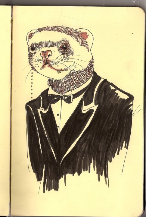 A ferret wearing a monocle. fuckyeahclassyanimals: Submitted by anchors-and-babes:  A ferret with a bow tie, of course :)