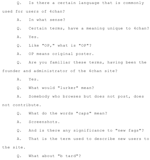 Highly entertaining court documents show Moot defining some 4chan terms. Here's 1 of 3. SAI has a few others.