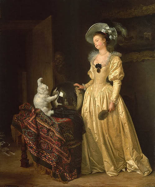 Le Chat Angora by Jean-Honore Fragonard | c. 1750-60 I don't care for cats but this one is presh ^__^ and so is this dress. the creeper behind the door?