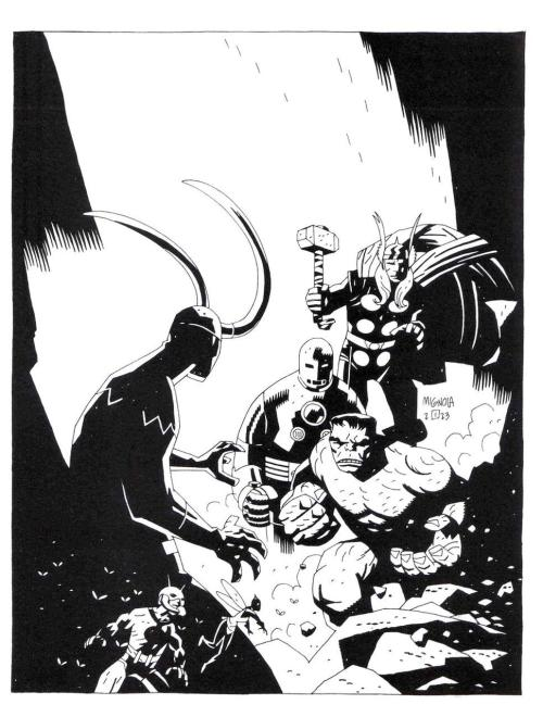 comicartappreciation:  Avengers // Mike Mignola(via awyeahcomics)