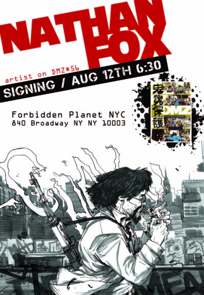 Nathan Fox will be having a book signing at Forbidden Planet in NYC, tomorrow August 12th!