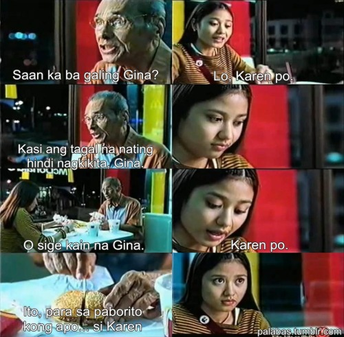 palabas:  Karen Po (McDonald's, 2000)  Aww. )'; I'm teary-eyed right now. I'll cut it short. I miss my Lola. ;( I love you! Take care.. ♥ -Ang paborito mong apo, si Karen ;)